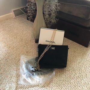 Chanel vip bag velvet bag w gold chain